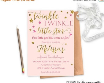 ON SALE Twinkle Twinkle Little Star First Birthday , Pink And Gold Glitter Birthday Invitation , Girl First Birthday Invitation , Printable