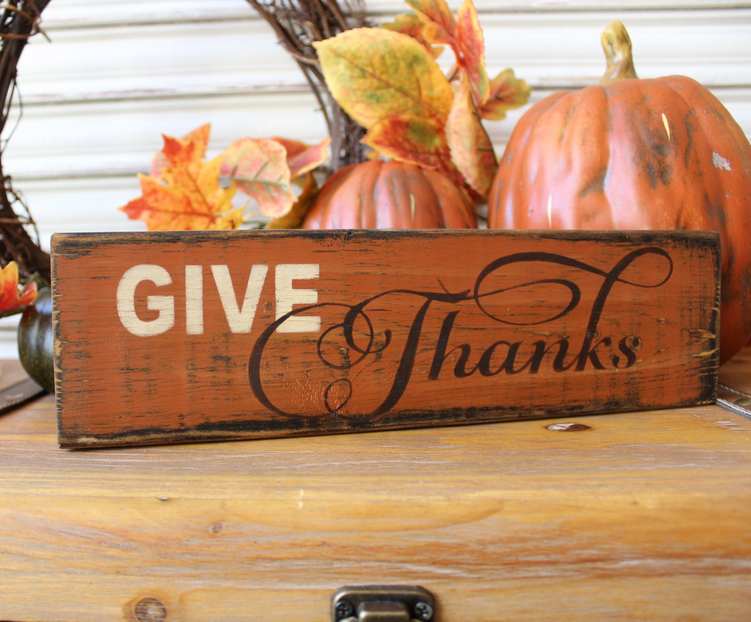 Thanksgiving decor give thanks wood sign fall wood sign - Thanksgiving decorations on sale ...
