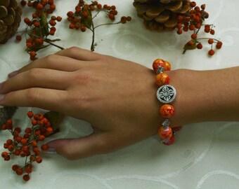Beaded Bracelet, Orange/ Yellow Beaded Bracelet