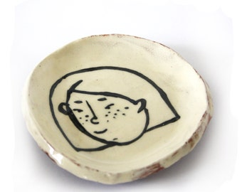 Rustic Ceramic Ring Dish with Illustrated Cute Freckle Girl Portrait