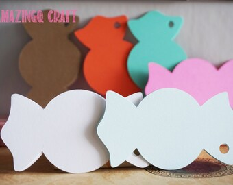 Sweet Candy  Paper Tags - Cardstock Paper Tags - Hang Tags - Set of 50