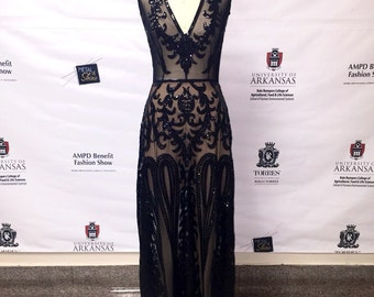 Black Sequin Evening Gown, One of a Kind Size 2/4