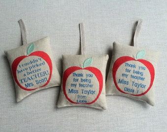 Thank You Teacher! Gift - Personalised Lavender filled Embroidered Apple Door Hanger/Drawer Sachet - Handmade