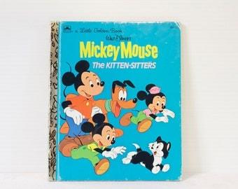 "Vintage Walt Disney's ""Mickey Mouse The Kitten Sitters"" Little Golden Book - Children's Book, Disney's Mickey Mouse"