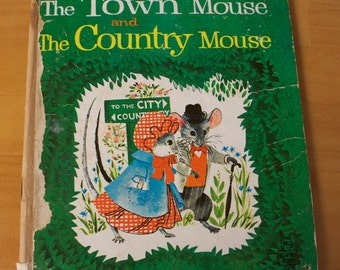 """Vintage 1965 Whitman Tell-A-Tale Book, """"The Town Mouse and The Country Mouse"""" Illustrated by Carl and Mary Hauge"""