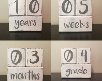 Baby Stat Blocks {week, month, year, grade} grey & white color scheme