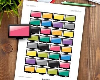 TV Half Box Printable Planner Stickers for any Planner   Mambi Happy Planner, Erin Condren, Kikki-K, Filofax, ColorCrush, Carpe Diem