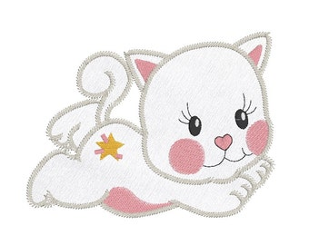 Instant Download Cuddly Kitten Applique, Cuddly Cat Applique Machine Embroidery Design No: JGS00011-2