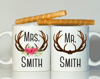 His and hers mugs-Mr and Mrs mugs-Just married-Wedding mugs-Bride And Groom Mugs-Wedding-Floral Deer Antlers-gift for newlyweds-Christmas