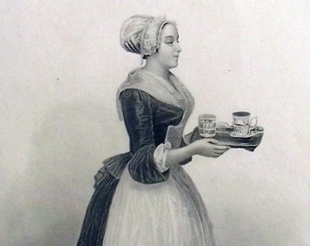 1830 - The CHOCOLATE GIRL  - Original Antique Steel Engraving. Cacao. Cocoa. Food. Sweet. Drink. Art.