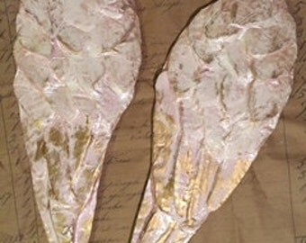 French papier mache angel wings pearl petalpink and ivory with gold leaf accent