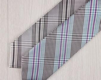 gray silk necktie.green plaid necktie.men's silk ties.formal ties for work.modern necktie.ties for engagement.ties for bridal party+nt275