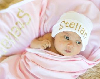 Pink Newborn Girl Name Hat, Newborn Blanket Set, Personalized Newborn Hat, Newborn Photo Prop, New Baby Hat, Baby Girl, Newborn Baby Hat