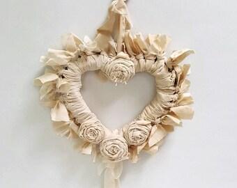Rag Wreath , Shabby Chic Wreath ,  Heart Wreath , Shabby Chic , Wreath , Heart Wall Art , Home Decor , Shabby Vintage , Wall Decor
