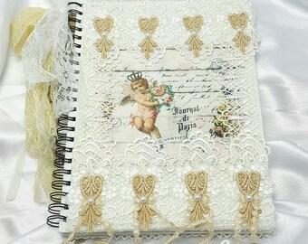 A4 Notebook , A4 Journal , Bible Journaling , Spiral Notebook , Writing Journal , Lined Notebook , Bridal Journal , Fabric Journal , Journal