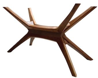 Mid Century Modern Walnut Dining Table Base, Solid Walnut