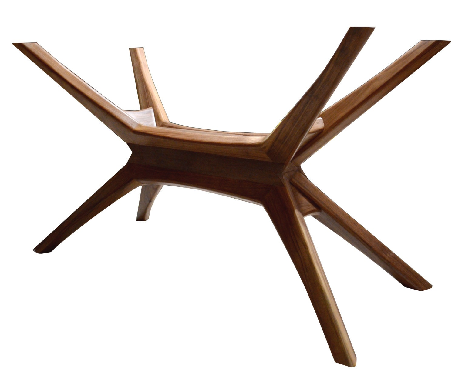Contemporary Coffee Table Bases: Mid Century Modern Walnut Dining Table Base Solid Walnut