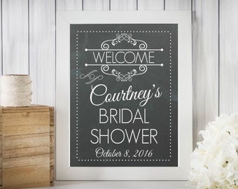 Personalized Bridal Shower Welcome Sign - Printable Vintage Chalkboard / DIGITAL JPEG FILE / Wedding / Shower / Bridal