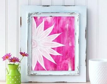 Pink Daisy Art Print. Whimsical Daisy Wall Art. Acrylic Art. Daisy Print. Mother's Day Gift. Nursery Wall Art. Gift for Mom. Gift for Her.
