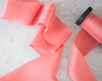 3 metres Vibrant Coral 100% Silk Ribbons Plant-based and Hand Dyed
