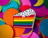 Rainbow cake enamel pin - lapel pin - hat pin - pin badge