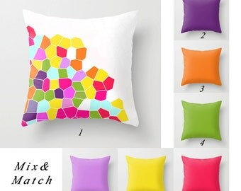 Colorful Pillows, Purple Pillow, Orange, Green Pillow, White and Yellow Pillows Solid Pillows Decorative Throw Pillow Covers Outdoor Pillows