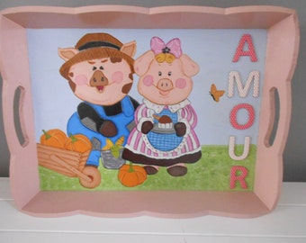 """food tray, serving tray """" couple decoration pigs """""""