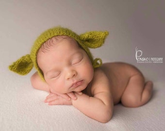 Yoda Hat, Mohair Yoda Bonnet, Knit Baby Hat, Cub, Animal Ears, Newborn Hand Knitted Cap, Infant Photo, Mohair and Silk bonnet