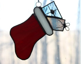 Handmade Stained Glass Christmas Stocking Suncatcher