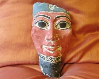 RARE Antique Egyptian Mask of Ancient Pharaoh King AKHENATON Collection..LARGE