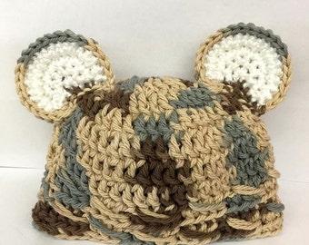 Newborn Beanie with Bear Ears