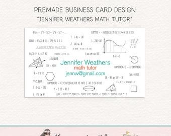 math tutor business card math teacher business card calling card social card premade card thank you card teacher calling card business card