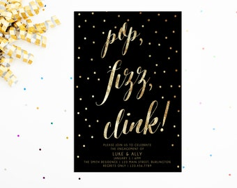 Gold Engagement Party Invite, Printable Engagement Party Invite, Pop Fizz Clink, Gold Foil Invite