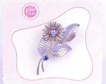 50s Flower Brooch Silver Blue (Never Used) // Flower Jewelry // Mad Men Pin up Fifties Lady