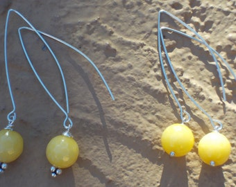 Faceted Yellow Jade and Sterling Silver Drop Earrings