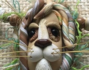 Leo the Lion face bead, handmade pendant necklace