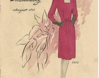 40s Vintage McCall Style News for Home Dressmaking Pamphlet / Flyer August 1945 Bon Marche Perth Ephemera
