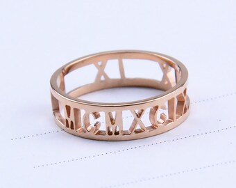 Roman numeral Rings,Personalized Rings,Customized Engraved Rings,Graduation Gift,Friendship Rings,Lover Gifts R019