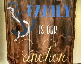 Family Is Our Anchor Hand Painted Reclaimed Pallet Live Edge Wood Sign