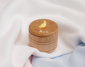 Personalised First Tooth Box. First Curl Box. Personalised baby gift. Hand-painted -Duckling Design. New Baby gift, Christening, Baby Shower