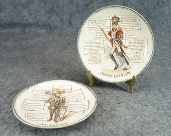 H B & Cie Terre De Fer 2 X French Luncheon Collectors Plates C. 1800s