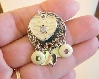 Silver Tone Round Heart Pendant Necklace with Dangles