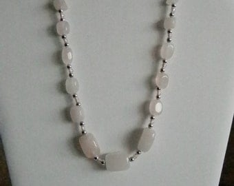 Silver Tone Cream Pale Pink Stones Necklace