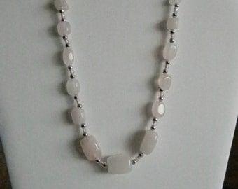 Silver Tone Pink Quartz Nugget Stones Necklace