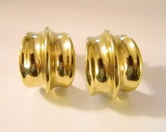 Bright and Shiny Gold Wide Hoops Pierced Earrings