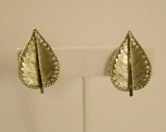 Muted Silver Tone BSK Leaf Leaves Clip Earrings