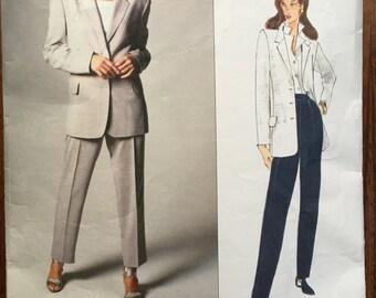 Vogue  1402  1994 Genny Vogue Designer Original Sewing Pattern Womens Jacket & Pants Size 6 8 10 Bust 30 1/2 to 32 1/2 UnCut FF