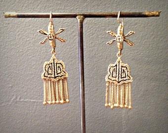 14k Gold Genuine Victorian Black Enamel Tassel Earrings - Antique - Special Occasion, Evening Wear- circa 1890-90s
