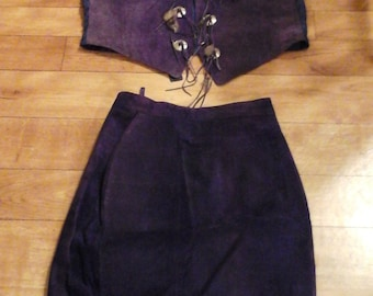 Suede Leather Purple Vest and Skirt