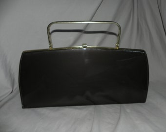 1950's or 1960's Brown Patent Leather Purse Handbag